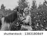 pretty blonde girl in white... | Shutterstock . vector #1383180869