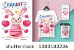 princess rabbit   mockup for... | Shutterstock .eps vector #1383183236