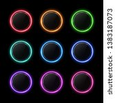 color buttons set. neon circle... | Shutterstock .eps vector #1383187073