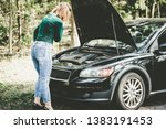 young woman standing next to a... | Shutterstock . vector #1383191453