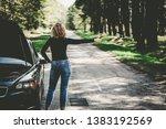 broken car looking for help | Shutterstock . vector #1383192569