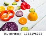 sliced fruit and vegetable... | Shutterstock . vector #1383196133