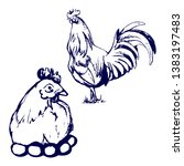 chicken and cock drawing blue... | Shutterstock . vector #1383197483
