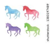 horse watercolor outline. set... | Shutterstock . vector #1383197489