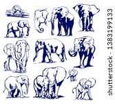 elephant graphic drawing blue... | Shutterstock . vector #1383199133