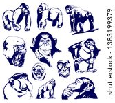 monkey graphic drawing. set of... | Shutterstock . vector #1383199379