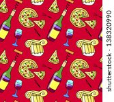 wine and pizza seamless pattern | Shutterstock .eps vector #138320990