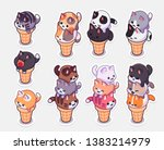 Stock vector kawaii ice cream cats stickers ice cream with different balls in the form of round kittens in the 1383214979