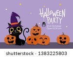 halloween party invitation card ... | Shutterstock .eps vector #1383225803