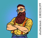 bearded hipster with glasses.... | Shutterstock .eps vector #1383226199