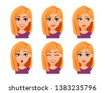 facial expressions of woman... | Shutterstock .eps vector #1383235796