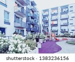 complex of modern apartment... | Shutterstock . vector #1383236156