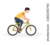 caucasian teenager boy enjoying ... | Shutterstock .eps vector #1383240740