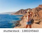 tourist woman in dahab near...   Shutterstock . vector #1383245663