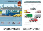 flat city transport infographic ... | Shutterstock .eps vector #1383249980