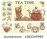 sketch tea time colorful... | Shutterstock .eps vector #1383249989