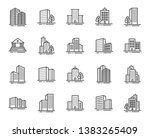 buildings line icons. bank ... | Shutterstock .eps vector #1383265409