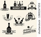 alcoholic beverages collection. ... | Shutterstock .eps vector #1383267353