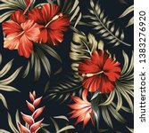 Tropical Vintage Red Hibiscus...