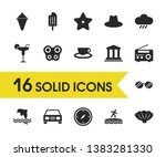 sunny icons set with automobile ...