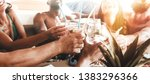 group of friends drinking... | Shutterstock . vector #1383296366
