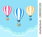 hot air balloon with basket... | Shutterstock .eps vector #1383302120