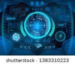 cockpit helmet  futuristic vr... | Shutterstock .eps vector #1383310223
