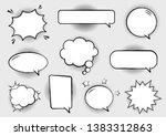 retro empty comic bubbles and... | Shutterstock .eps vector #1383312863