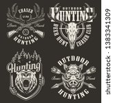 vintage hunting prints with... | Shutterstock .eps vector #1383341309