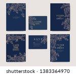 navy wedding invitation  floral ... | Shutterstock .eps vector #1383364970