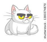 cartoon grumpy white cat.... | Shutterstock .eps vector #1383374870