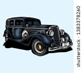 retro mafia car vector... | Shutterstock .eps vector #1383378260