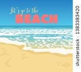 empty beach. sea waves... | Shutterstock .eps vector #1383383420