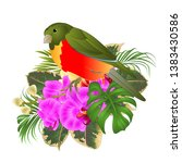 tropical bird with tropical... | Shutterstock .eps vector #1383430586