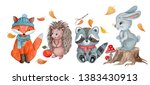 Stock photo set of cute cartoon forest animals fox hedgehog raccoon and hare with autumn leaves mushrooms 1383430913