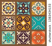 collection of 9 seamless... | Shutterstock .eps vector #1383434153