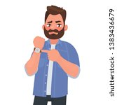 dissatisfied man shows on the... | Shutterstock .eps vector #1383436679