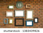 old clock and blank frame on... | Shutterstock . vector #1383439826