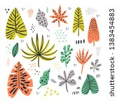 exotic leaves hand drawn flat... | Shutterstock .eps vector #1383454883