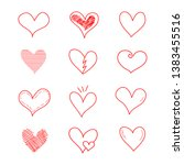 different graphic hearts... | Shutterstock .eps vector #1383455516