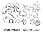 vegetables. set of black and... | Shutterstock .eps vector #1383458660