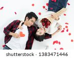 top view of happy young couple... | Shutterstock . vector #1383471446