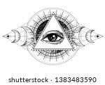 eye of providence. masonic... | Shutterstock .eps vector #1383483590