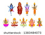 indian gods set  shiva  igny ...   Shutterstock .eps vector #1383484073