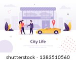 man selling car to couple of... | Shutterstock .eps vector #1383510560