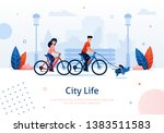 Stock vector couple riding bicycles with running dog banner vector illustration going around park with pet 1383511583