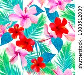 tropical pattern with hibiscus...   Shutterstock . vector #1383512039