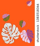 vector tropical pattern with... | Shutterstock .eps vector #1383518366