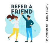 refer a friend marketing design ... | Shutterstock .eps vector #1383541340