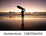 surfer silhouette gold coast ... | Shutterstock . vector #1383556433